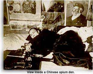 view inside a Chinese opium den